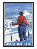 Skier Admiring, Washington Posters by  Lantern Press