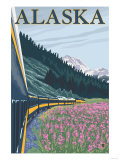 Alaska Railroad and Fireweed, Alaska Posters by  Lantern Press