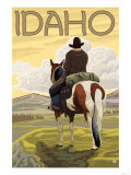 Cowboy & Horse, Idaho Print by  Lantern Press