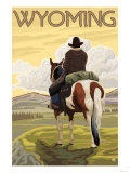 Cowboy & Horse, Wyoming Poster by  Lantern Press