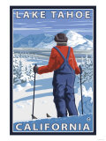 Skier Admiring, Lake Tahoe, California Poster