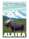 Moose Scene, Ketchikan, Alaska Poster