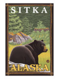 Black Bear in Forest, Sitka, Alaska Poster by  Lantern Press