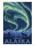 Northern Lights, Fairbanks, Alaska Poster by  Lantern Press