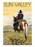 Cowboy & Horse, Sun Valley, Idaho Posters