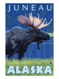 Moose at Night, Juneau, Alaska Posters by  Lantern Press
