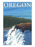Bear Fishing in River, Oregon Prints
