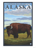 Bison Scene, Copper River Basin, Alaska Posters