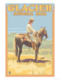 Cowboy on Horseback, Glacier National Park, Montana Prints by  Lantern Press