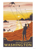 Beach & Kites, Ocean Shores, Washington Print by  Lantern Press