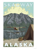 Bush Plane & Fishing, Skagway, Alaska Print by  Lantern Press