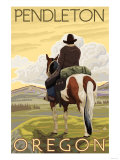 Cowboy & Horse, Pendleton, Oregon Print by  Lantern Press
