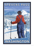 Skier Admiring, Stevens Pass, Washington Print by  Lantern Press