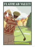 Golfer Scene, Flathead lake, Montana Print by  Lantern Press