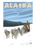 Dogsledding, Alaska Print by  Lantern Press