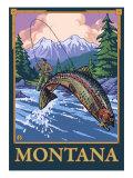 Fly Fishing Scene, Montana Posters by  Lantern Press