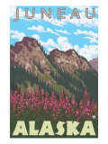 Fireweed & Mountains, Juneau, Alaska Posters