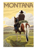 Cowboy & Horse, Montana Posters