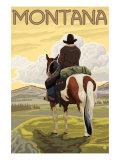 Cowboy & Horse, Montana Posters by  Lantern Press