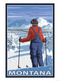 Skier Admiring, Montana Posters by  Lantern Press