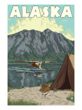 Bush Plane and Fishing, Alaska Posters by  Lantern Press