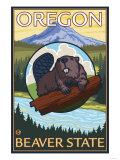 Beaver and Mount Hood Scene Posters by  Lantern Press