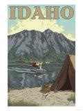 Bush Plane & Fishing, Idaho Poster by  Lantern Press