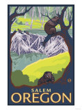 Beaver Family, Salem, Oregon Poster by  Lantern Press