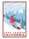 Snowboarder Scene, Lake Tahoe, California Print by  Lantern Press