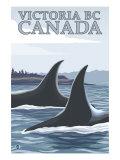 Orca Whales No.1, Victoria, BC Canada Poster