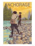 Women Fly Fishing, Anchorage, Alaska Poster by  Lantern Press