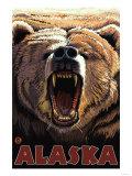 Growling Bear, Alaska Póster