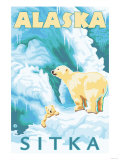 Polar Bears & Cub, Sitka, Alaska Print by  Lantern Press