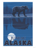 Bear in Moonlight, Juneau, Alaska Print by  Lantern Press