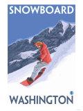 Snowboarding, Washington Print by  Lantern Press