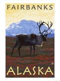 Caribou Scene, Fairbanks, Alaska Posters