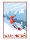 Snowboarder Scene, Washington Posters by  Lantern Press