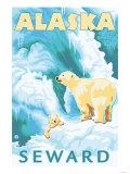 Polar Bears & Cub, Seward, Alaska Lámina giclée prémium por  Lantern Press