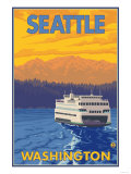 Ferry and Mountains, Seattle, Washington Posters