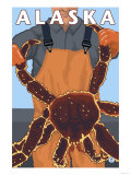 King Crab and Fisherman, Alaska Posters