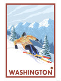 Downhhill Snow Skier, Washington Posters by  Lantern Press