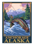 Fly Fishing Scene, Anchorage, Alaska Posters by  Lantern Press