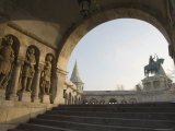 Sunset Ight on St. Stephens Statue, Castle Hill Area, Budapest, Hungary, Europe Photographic Print by Christian Kober