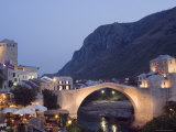 Stari Most Peace Bridge on Neretva River, Evening, Mostar, Bosnia, Bosnia-Herzegovina, Europe Photographic Print by Chris Kober