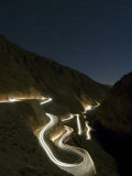 Car Light Trails at Night, Winding Curved Mountain Road, Dades, Gorge, Morocco, North Africa Photographic Print by Christian Kober