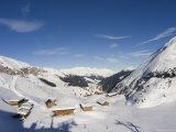 Huts, Hintertux Glacier, Mayrhofen Ski Resort, Zillertal Valley, Austrian Tyrol, Austria Photographic Print by Christian Kober