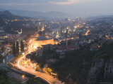 Panoramic Night View of the City, Sarajevo, Bosnia, Bosnia-Herzegovina, Europe Photographic Print by Christian Kober