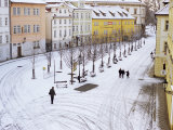 Snow Covering Na Kampe Square, Kampa Island, Mala Strana Suburb, Prague, Czech Republic, Europe Photographic Print by Richard Nebesky
