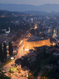 Panoramic Night View of the City, Sarajevo, Bosnia, Bosnia-Herzegovina, Europe Photographic Print by Christian Kober