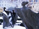 Snow Covered Statues in Frantiskanska Garden, Nove Mesto, Prague, Czech Republic, Europe Photographic Print by Richard Nebesky